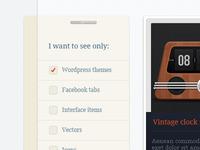 Vertical filter menu