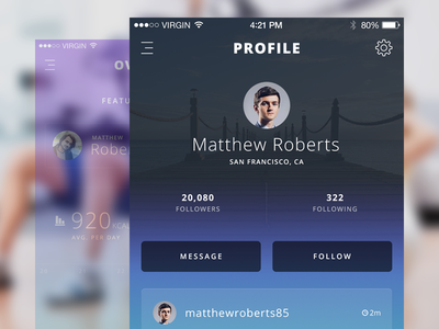 Profile app ios ios app iphone app fitness health tracking training workout overview ui ux