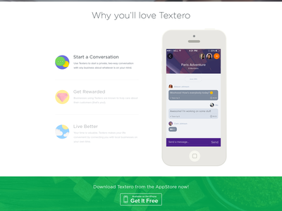 Landing Page textero iphone app ios website user experience ux user interface ui web app web app