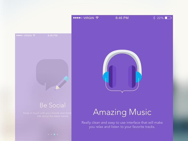 Walkthrough Screens user interface ui mobile music sketch iphone app ios app ios app