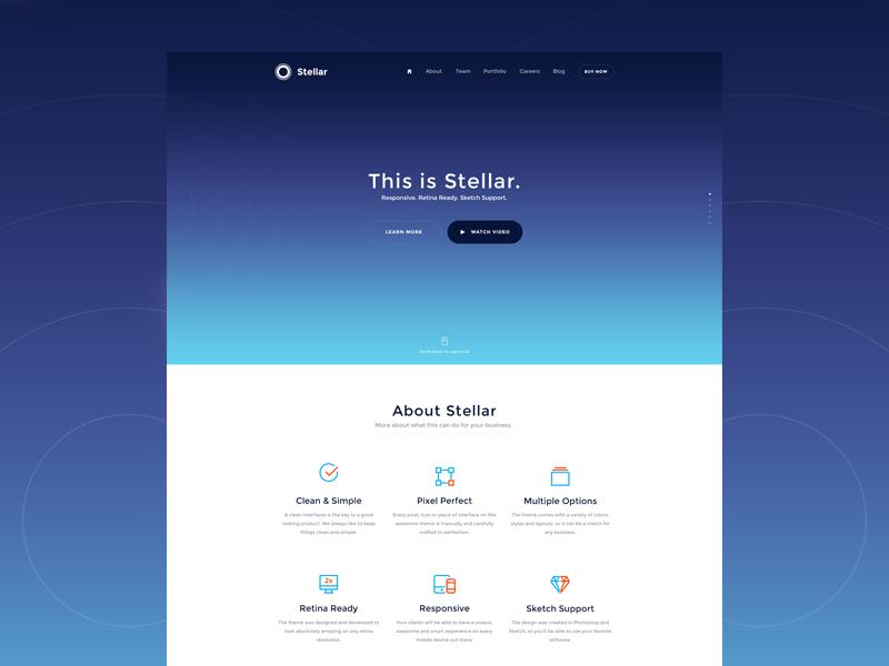 Stellar mobile responsive sketch psd template theme website web stellar
