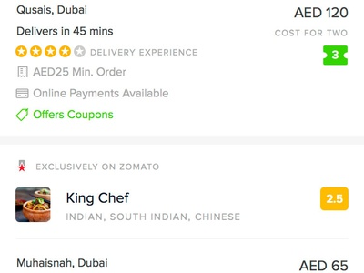 Restaurant Results restaurants search list results food order zomato ios design app