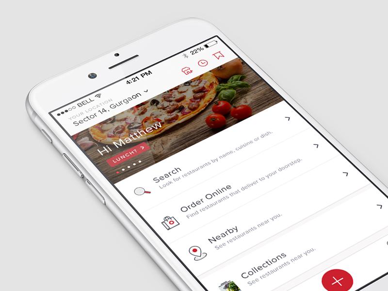 Zomato Homescreen restaurants search list results food order zomato ios design app