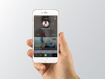 Stream App Profile ios iphone mobile user interface video stream ui interface design app