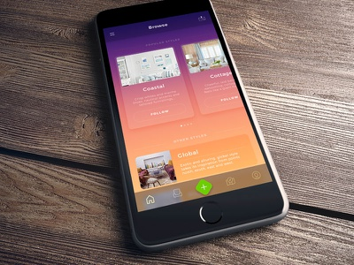 Browse Styles user interface interior design furniture colorful ui sketch ios design app