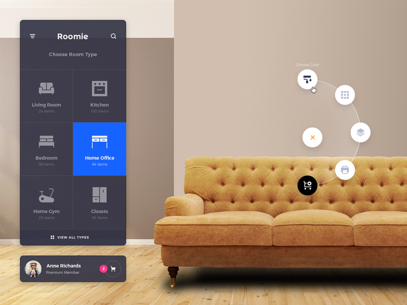 Roomie Updates ux user interface ui interior furniture desktop design app