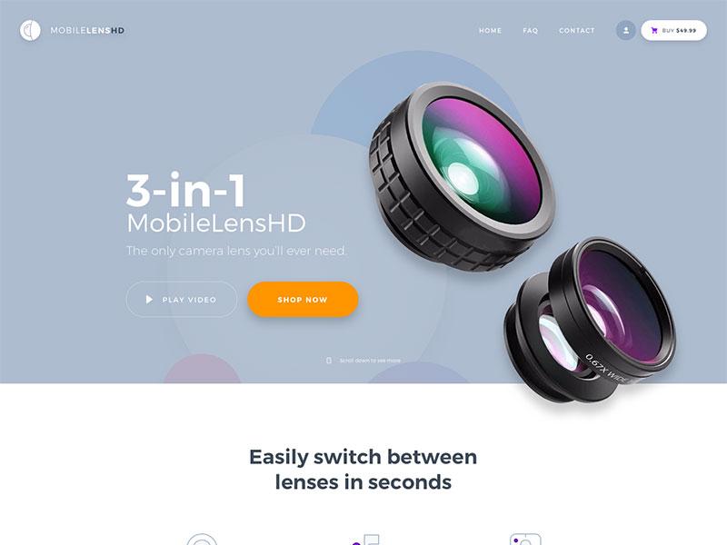 MobileLensHD Landing Page (WIP) ui web design ecommerce website lens product design