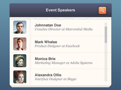 People list people list speakers event modern interface