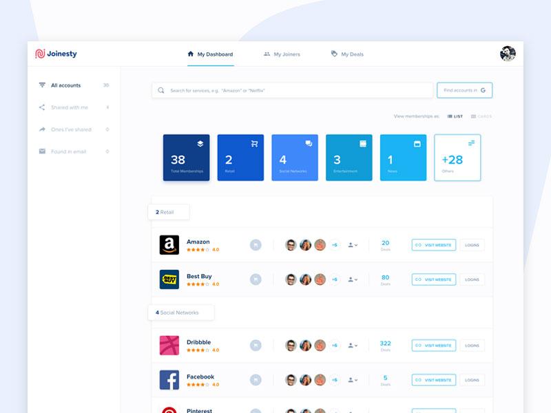 Joinesty Dashboard (List View) light user interface ui dashboard web design app