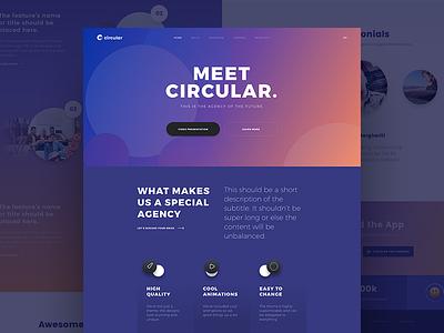 Circular user interface ui landing page theme website web design web