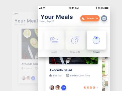 Change Meal Type interaction mobile userinterface ui plan food diet meal ios design app