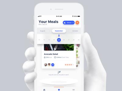 Calendar View interaction mobile userinterface ui plan food diet meal ios design app
