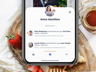 Notifications Menu interaction mobile userinterface ui plan food diet meal ios design app