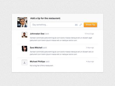 Tips comments widget clean ui cibando