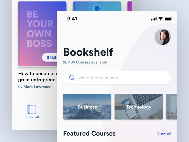 Bookshelf - Library App read books library user interface ui ios app