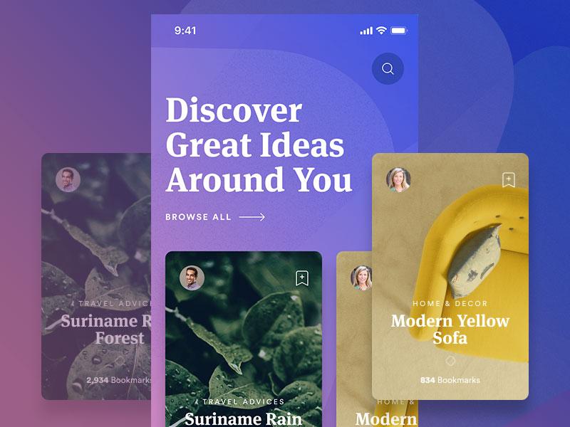 Great Ideas app ios ui user interface iphone iphone x ideas social community