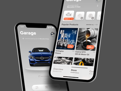 Car Management App (Store) management garage clean shop ecommerce car user interface ui ios app