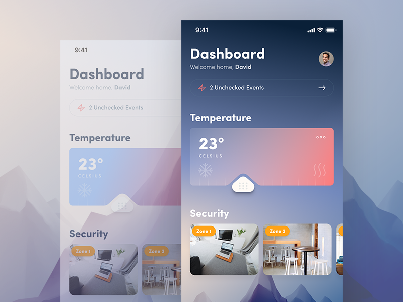 Dashboard (Day vs. Night) smart home smart dashboard iphone user interface ui ios app