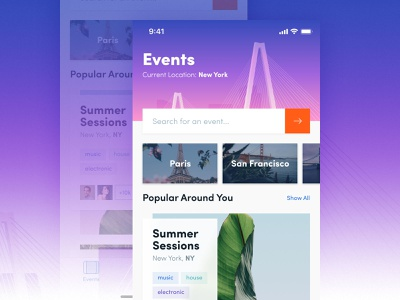 Events colorful events user interface ui ios app
