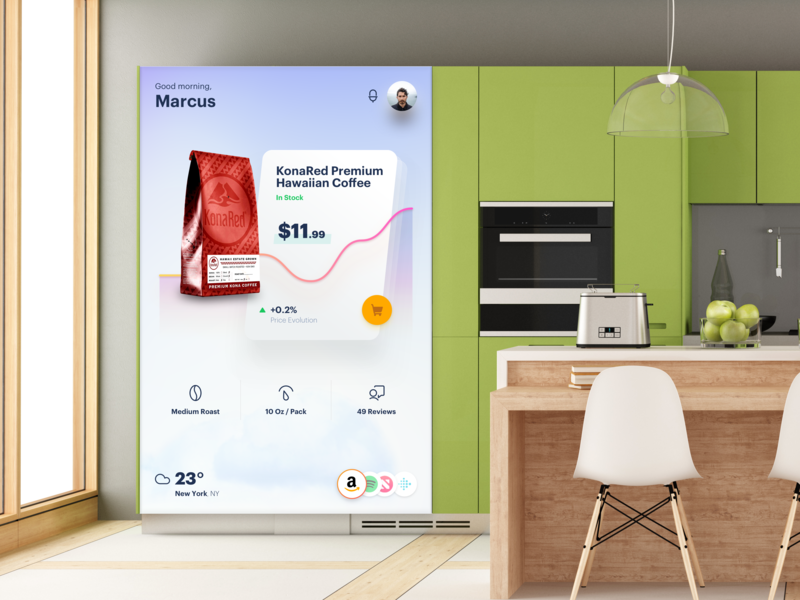 Kitchen Dashboard ecommerce shopping augmented reality user interface ui dashboard app