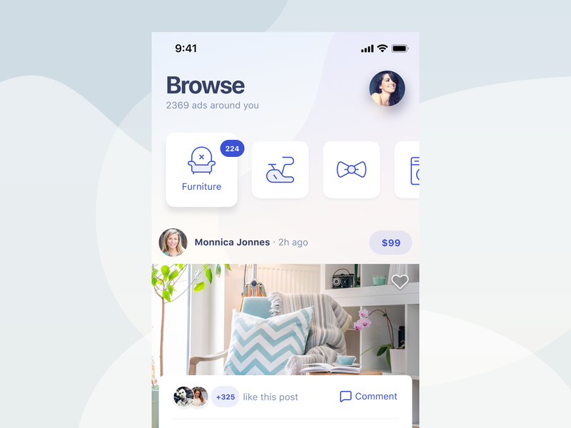 Browse Ads social app social community shopping ecommerce ads ux sketch iphone app design iphone clean ios app user interface ui