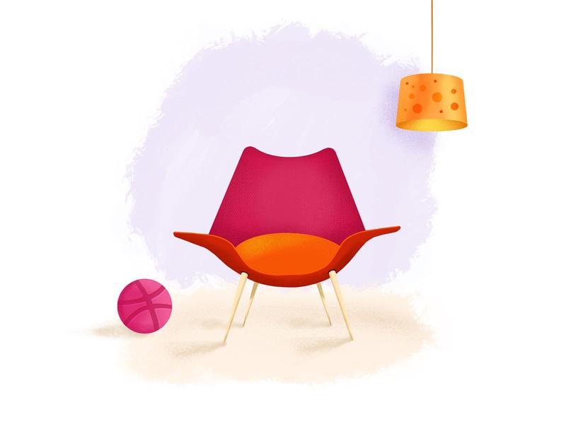 Procreate Exploration illustration ipad procreate living room chair lamp chill drawing exploration