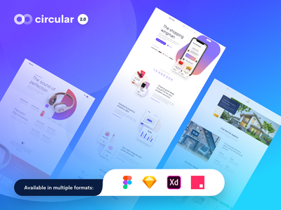 Circular 2.0 - Unique Landing Pages Pack invision studio adobe xd figma sketch template themes modern user interface ui landing pages landing page website web