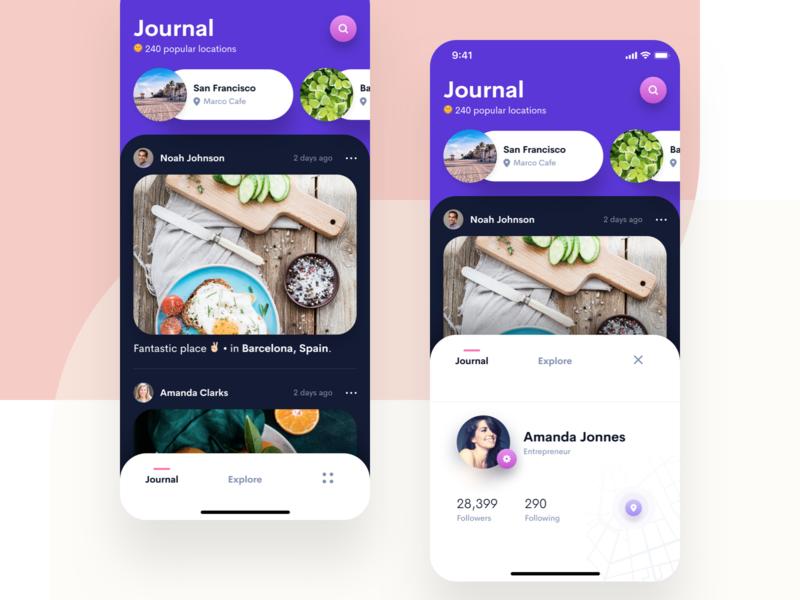 Travel Journal mobile app design social app social travel app travel mobile app mobile sketch iphone app design iphone clean ios app user interface ui