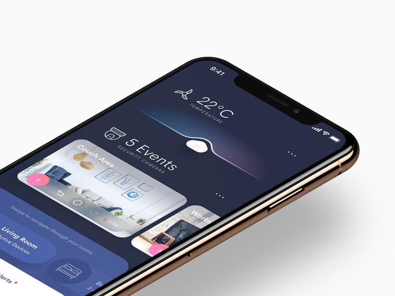 Smart Home App app design iphoneapp iosapp smarthome slider design iphone clean ios app user interface ui