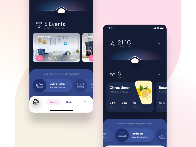 Smart Home 2 dashboard app monitoring interface plants smart home app security figma smart home smart interface ios app mobile iphone app design iphone clean ios app user interface ui