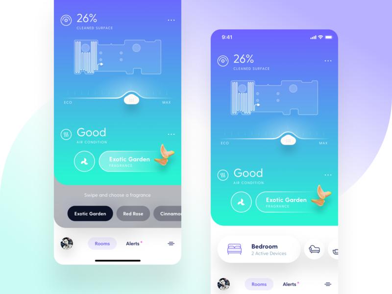 Smart Home App Concept smart device purifier vacuum cleaner figmadesign smarthome smart figma iphone app ux design iphone clean ios app user interface ui