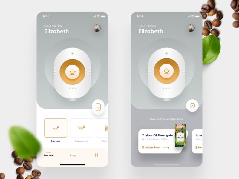 Smart Coffee Maker coffee smart figma ios app mobile iphone app design iphone clean ios app user interface ui