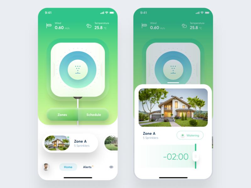 Smart Sprinklers Concept concept app design iphone app iphone ios user interface ui clean design figma sprinklers smarthome smart application app