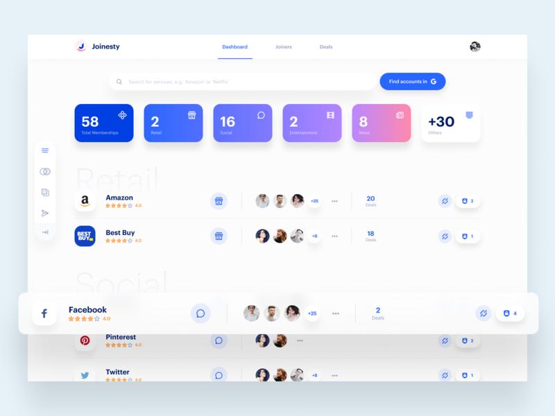 Joinesty Dashboard web app design web app password manager dashboard design dashboard ui dashboard sketch design clean app user interface ui