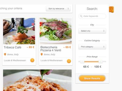 Filter Results filter results search food restaurant psd ui user interface website web design cibando