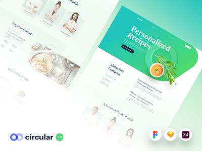Circular 2.0 - Update fitness nutrition healthy recipes food template theme web design website design web user interface ui