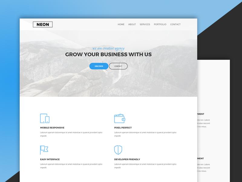Freebie Neon html agency template