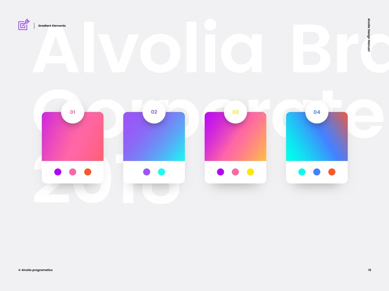 Alvolia — Gradient Elements target ios arrow responsive mobile minimal website flat animation web app icon ux typography branding vector ui logo design illustration