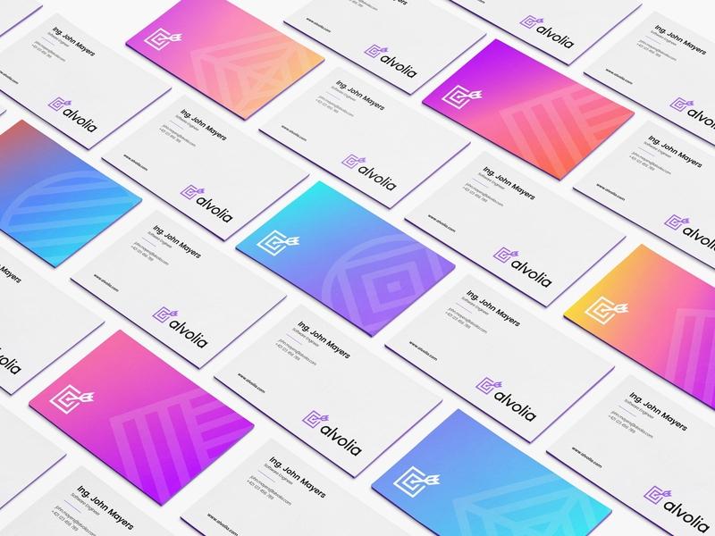 Alvolia — Business Cards illustration design logo ui vector branding typography ux icon app web animation flat website minimal mobile responsive arrow ios target