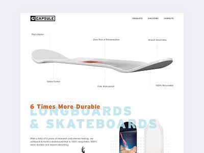 Capsule Skateboards Landing Page rollers sport skateboarding ux ui landing page sports longboards capsule skateboards