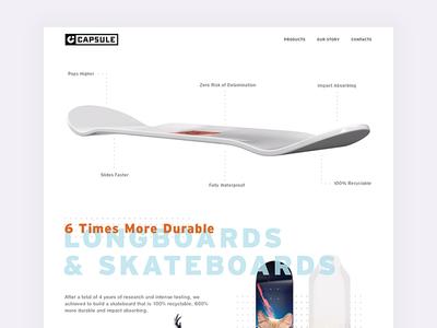 Capsule Skateboards Landing Page