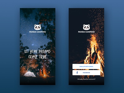 Panda Camping Splash Screen & Sign Up Page log in camping app splash screen splash app design app camping sign in sign up