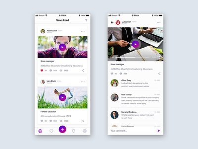 Newsfeed and Video page for an employment-oriented IOS app