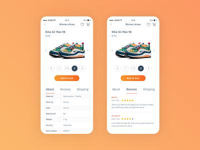 Nike Air Max 98 userinterface user experience application design app design ui design uxdesign uiux ecommerce app nike air max nike ecommerce design ecomerce