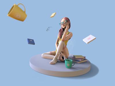 Reverie design illustrator logo zbrush 3d girl character design character shimur illustration