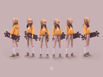 Shimuko shimuko logo zbrush girl 3d character design character shimur