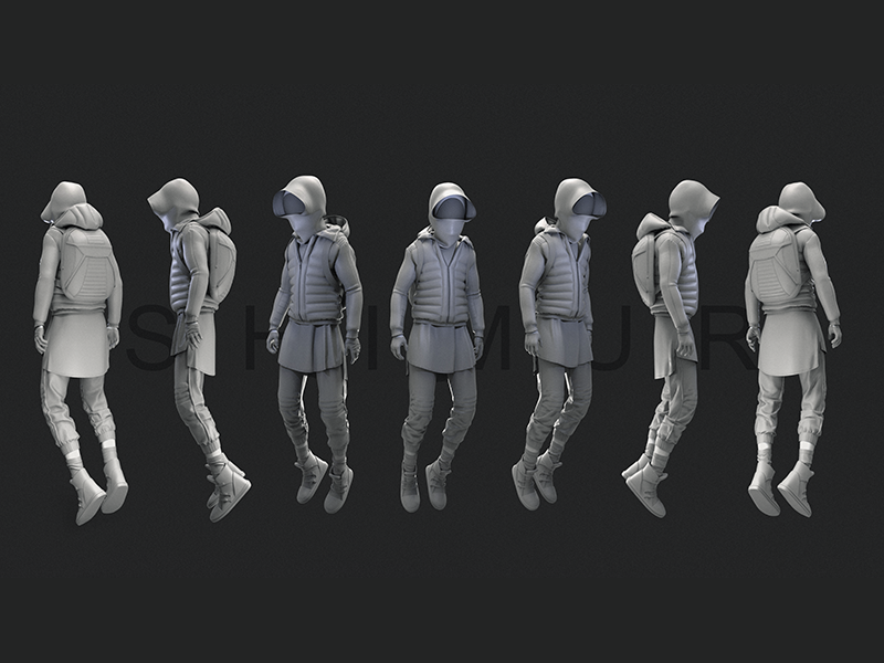 Human plus human plus game outfit style jump jacket shimur zbrush character design 3d shoes sneakers
