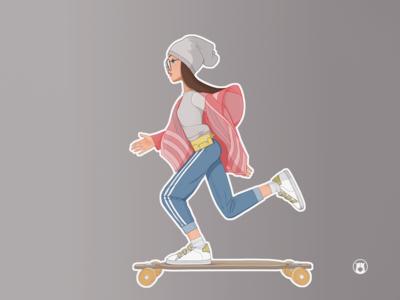 Shimuko skate longboard flat shimur logo girl character design character illustration