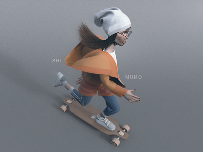 Shimuko skate longboarding longboard design logo zbrush girl character character design shimur 3d