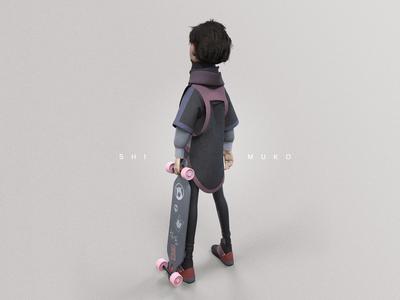 Shimuko skater skateboard longboarder longboarding longboard design girl zbrush character design character shimur 3d illustration